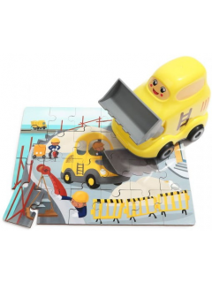 WOODEN PUZZLES IN BULLDOZER